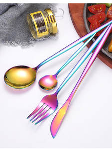 Gold Cutlery Knife Fork-Spoon Stainless-Steel Luxury 24pcs Specular-Light Aristocratic