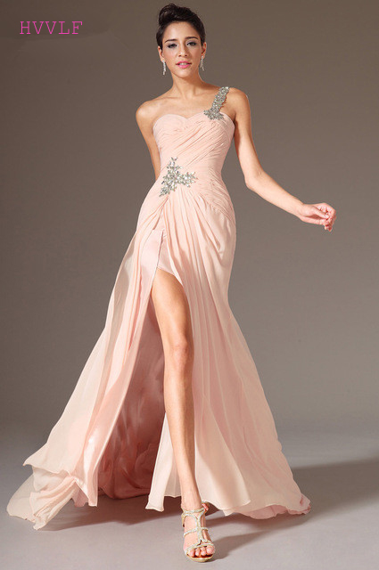 Blush Evening Dresses 2019 Mermaid One-shoulder Chiffon Beaded Slit Sexy Long Dubai Saudi Arabic Evening Gown Prom Dresses