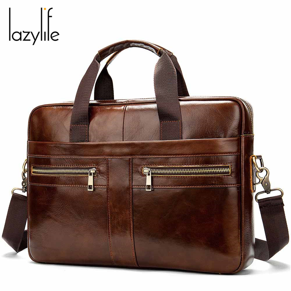 LAZYLIFE New Men Laptop Briefcase Bag Handbag   Mens Genuine Leather Briefcase Men's Office   Bags Business Computer Bags