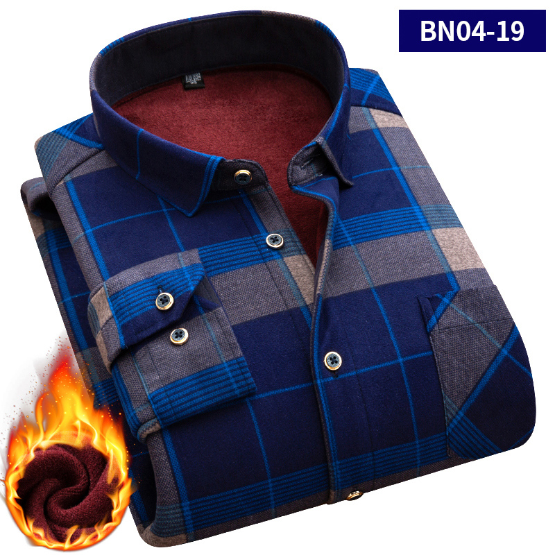 2019 Large Size 5XL Autumn Men Shirts Winter Warm Plush Slim Long Sleeve Shirts Fashion Slim Casual Plaid Man Social Shirt