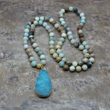 Amazonite Natural Crystal Bud Stone Pendant Necklace For Women Natural Stone Female Long Necklace Fashion Jewelry Gift Bohe New fashion jewelry handmade beaded natural green stone long chain sweater metal sequins pendant necklace