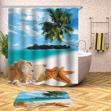 Sea view beach shower curtain bathroom 3D fabric shower curtain waterproof shower curtain for home decoration beach sunlight waterproof shower curtain