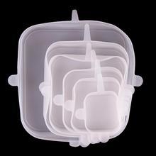 6 шт. силиконовая крышка для сохранения свежести крышка многофункциональная Квадратная Крышка для пищевых продуктов чехол для хранения для кухонного холодильника гаджет