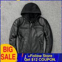 2020 Black Men American Style Hood Motorcycle Leather Jacket Plus Size 5XL Genuine Cowhide Autumn Slim Fit Biker's Leather Coat