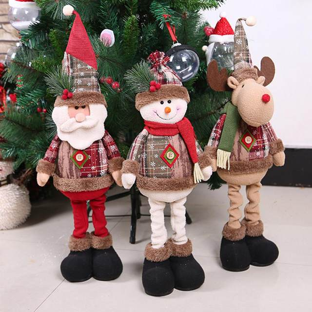 Christmas Decoratios For Home Dolls Xmas Tree Decor New Year Ornament Reindeer Snowman Santa Claus Standing Doll New Year Gift 16
