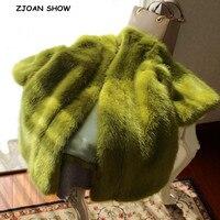 Oversize 2019 Winter V neck Hairy Shaggy Faux Mink Fur Coat Mustard green 3/4 Sleeve Furry Faux Fur Long Women Jacket Outerwear