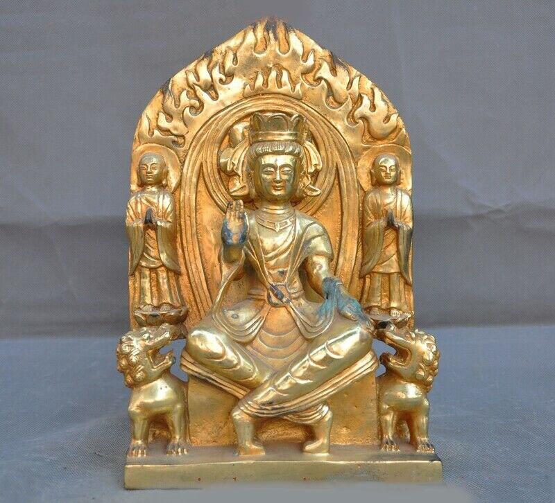 Décoration de mariage ancien bouddhisme tibétain Bronze 24k or doré moine lion Tara kwan-yin bouddha statue