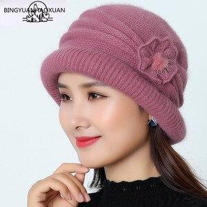 Image 1 - Frauen Wolle Hut Kappe Woolen Beanie Hut Winter Gestrickte Hüte mit Blume Muster Damen Mode Warme Frauen Capot Skullies Kappe