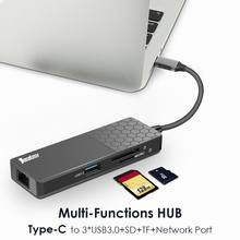 USB C Hub USB 3.1 Type C to USB 3.0 4K HDMI-compatible 100W PD TF Ethernet Adapter Notebook Smartphone Expansion Converter