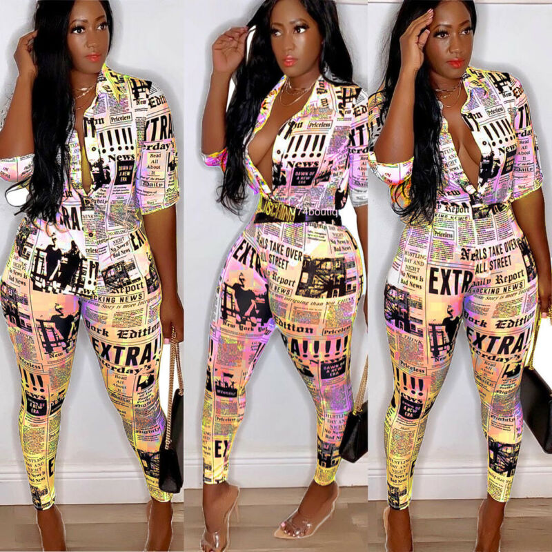 Women Jumpsuit Sexy Ladies Jumpsuits Party Rompers Blouse Top Long Pants Women Long Sleeve Romper Skinny Newspaper Print Outfits
