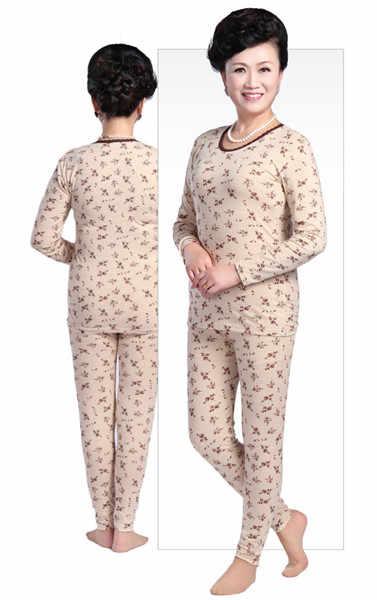 4XL grande taille seconde femalethermique peau coton o-cou Long Johns vieilles femmes hiver pyjamas chaud costume mère sous-vêtement thermique