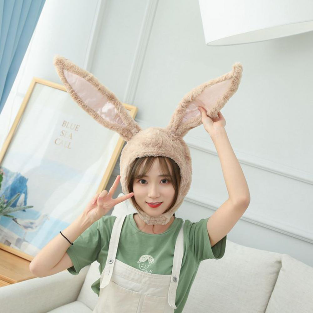 Cute Bunny Ears Hat Hook Loop Closure Photo Props Plush Hood Hat With Earflaps for Party Cosplay Supplies