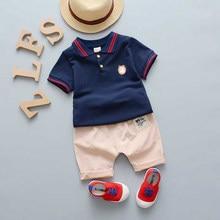 Verão bebê meninos roupas ternos cavalheiro estilo meninos conjuntos de roupas t-camisa + calças 2 pcs esporte casual ternos da criança conjuntos