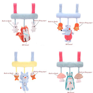 Image 3 - Baby Stroller Toys Cute Animals Rattle Bed Crib Car Hanging Stroller Spiral Plush Appease Toys Teether Developmental Rattles Toy