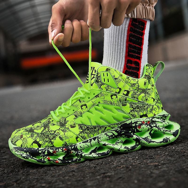 Fashion Running Shoes Men Graffiti High Top Chunky Men Sneakers Comfortable Jogging Shoes Blade Homme Outdoor Walking Footwear