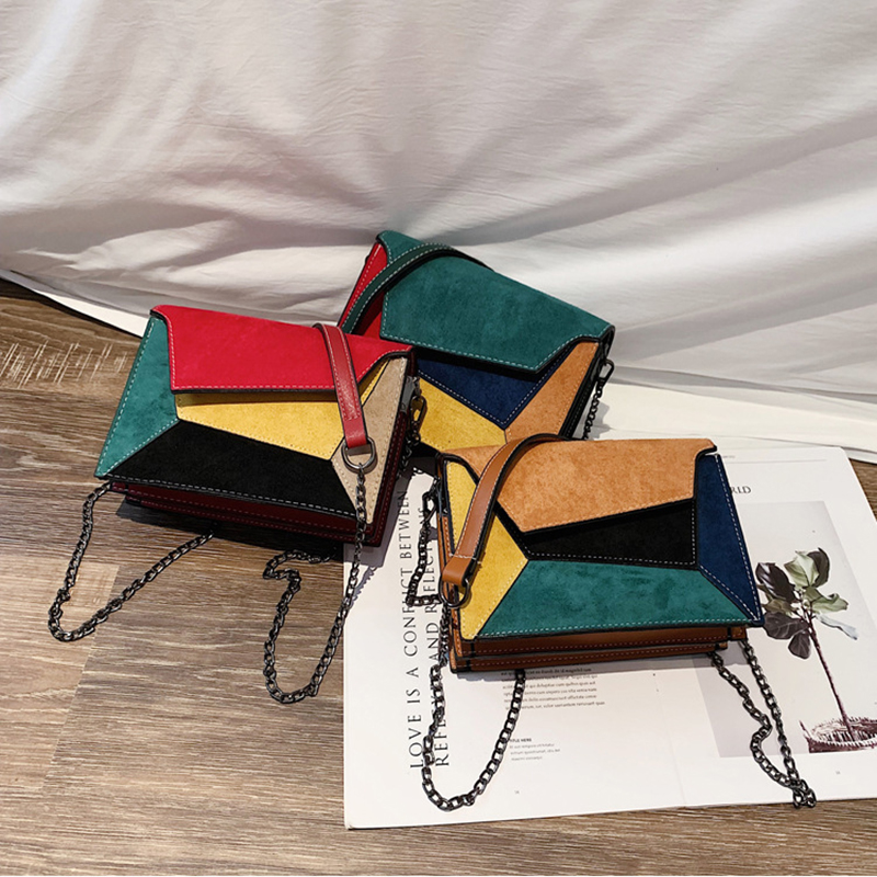 Women Bags Retro Matte Patchwork Crossbody Bags  Women Messenger Bags Chain Strap Shoulder Bag Lady Small Flap Criss-cross Bag