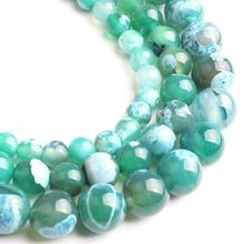 Blue Green Fire Agates Round Beads Natural Loose Stone Beads For Jewelry Making DIY Earrings Bracelet Necklace 15'' 6 8 10mm