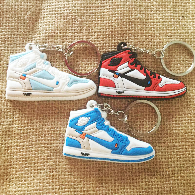 New Mini Jordan 1 Keychain Shoe Men Women Kids Key Ring Gift Basketball Sneaker Key Chain Key Holder Porte Clef
