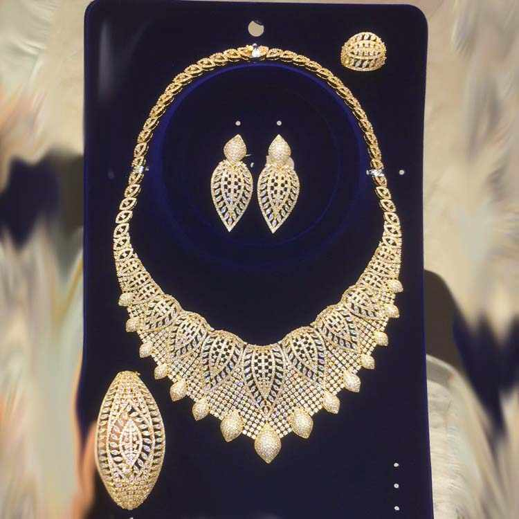 Dazz New Luxury Nigeria Leaf Necklace Jewelry Set Women Wedding Party Cubic Zircon Dubai Gold Color Bridal Jewelry Set Gift 2019