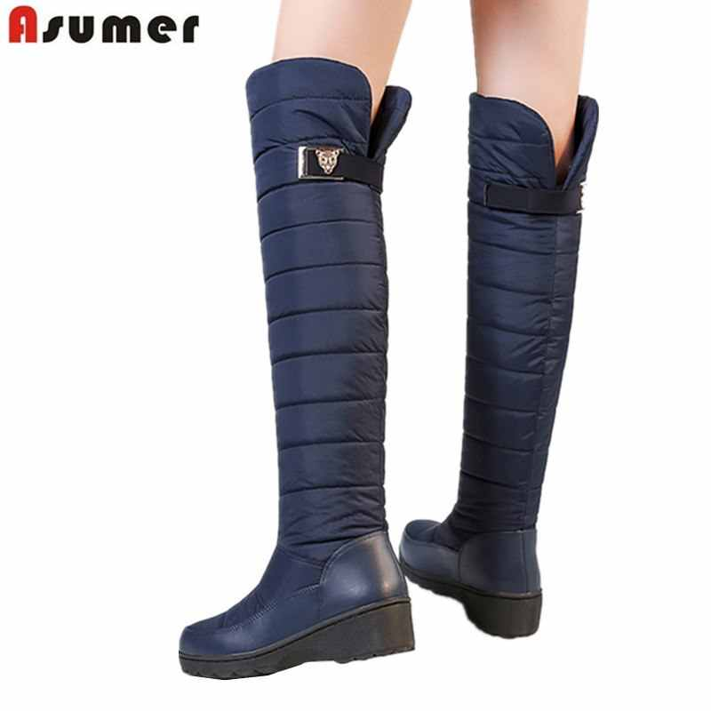 ASUMER Size 35-44 New thick fur snow boots women buckle round toe platform shoes knee high boots warm waterproof winter boots
