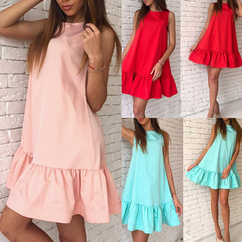 цена на Cute Vintage Summer Dress Ruffle Hem Patchwork Clothes Casual Sleeveless Women Dress Frills Round Neck Shift Solid Color Dress