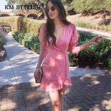 Women Fashion Pink Polka Dots Casual Dress 2019 New Chiffon Ruffles Slim Vestidos Female Three-quarter Sleeve Button
