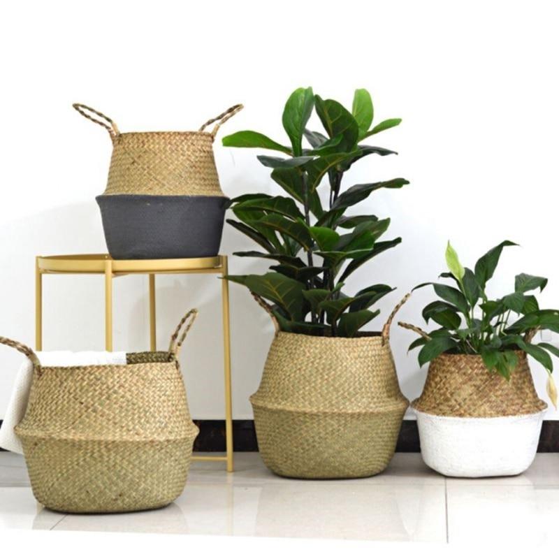 Folding Seagrass Laundry Basket Rattan Flower Basket Vase Planter Nursery Pot Belly Basket Straw Toys Organizer Home Decor HOT