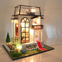 Doll House Large Furniture Diy Miniature 3D Wooden Miniaturas Dollhouse Building Kits Toys for Children Birthday Gifts