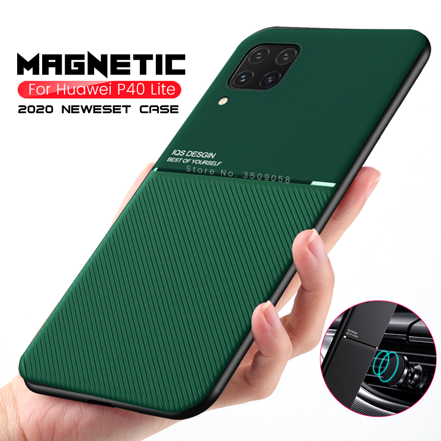For Huawei P 40 Lite Case For Huawei P40 Lite Light Case Matte Leather Texture Magnetic Car Holder Phone Cover On Hauwei P40lite