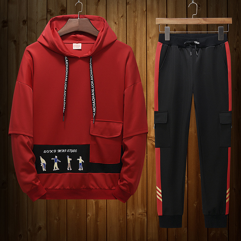 2019 New Style Men's Hooded Loose-Fit Trend Tops Pullover Hoody Casual Sports Bib Overall Set