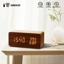 DEKO Powered Table Led USB Battery Charger Totoro Usb Desktop Wake Up Bedroom Electronic Wooden Alarm Clock Digital