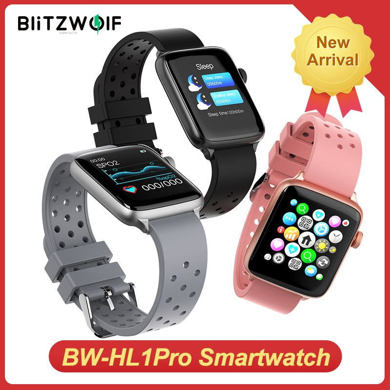 BlitzWolf BW-HL1Pro Smart Watch Smartwatch 2020 Watches for Men Women Kids Whatch Wach Fitness Tracker Heart Rate Blood Monitor
