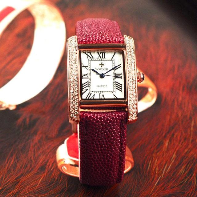 WWOOR Top Brand Luxurious Fashion Diamond Wrist Watches For Women Dress Casual Quartz Ladies Watch Red Leather Waterproof Clocks