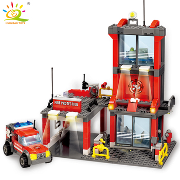 цена на HUIQIBAO 300pcs City Fire Station Building Blocks Firefighter man figures Truck car construction Bricks Toys for Children gift