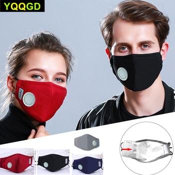 1Pcs Fashion Unisex Cotton Breath Valve Mouth Mask Cloth Activated carbon filter respirator