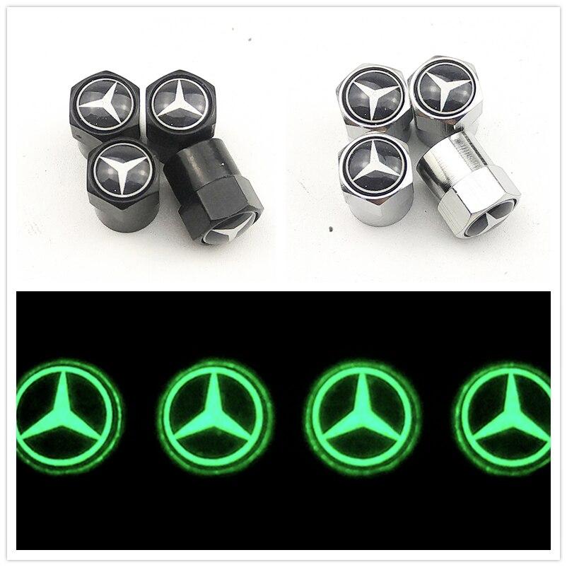 Luminous Car Wheel Tire Valves Tyre Stem Air Caps Case For Mercedes benz A B R G GLA w204 W251 W463 W176 W211 Car Accessories