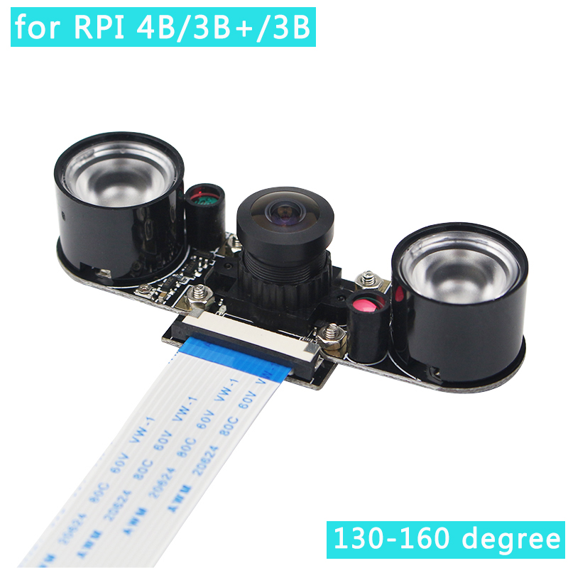 5mp raspberry pi 4 modelo b câmera fisheye 130 160 graus câmera v5647 visão noturna focal câmera webcam ajustável para rpi 4/3/2