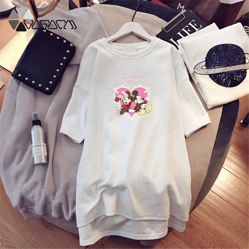 Summer Women Night Dress Minnie Mickey Cartoon Print Fashion Loose Women Clothing Plus Size Harajuku Mini Sleepwear Club Black in Nightgowns Sleepshirts from Underwear Sleepwears