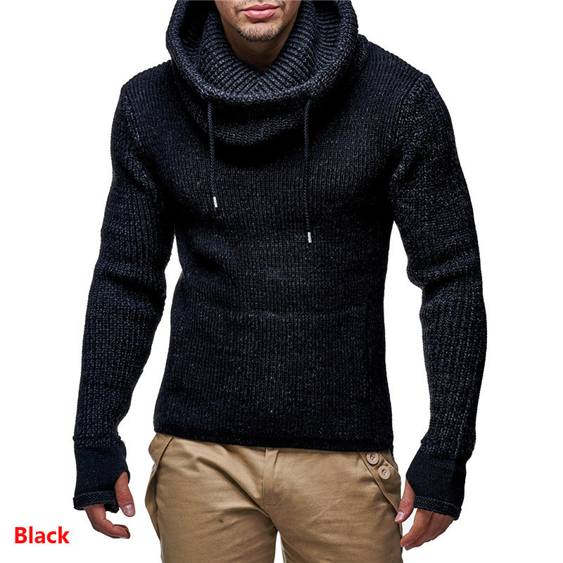 Ugly Christmas Mens Designer Sweaters Fashion Solid Color Warm Thick High Collar Mens Sweaters Casual Males Clothing