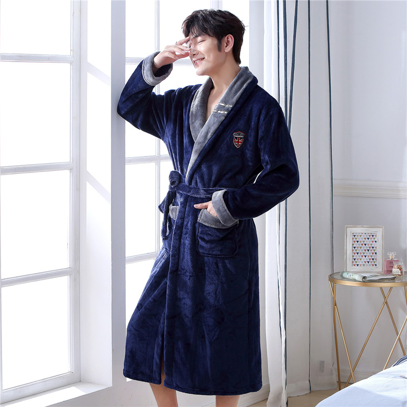 Men Casual Kimono Bathrobe Autumn Winter Flannel Long Robe Thick Warm Sleepwear Plus Size 3XL Nightgown Male Casual Home Wear