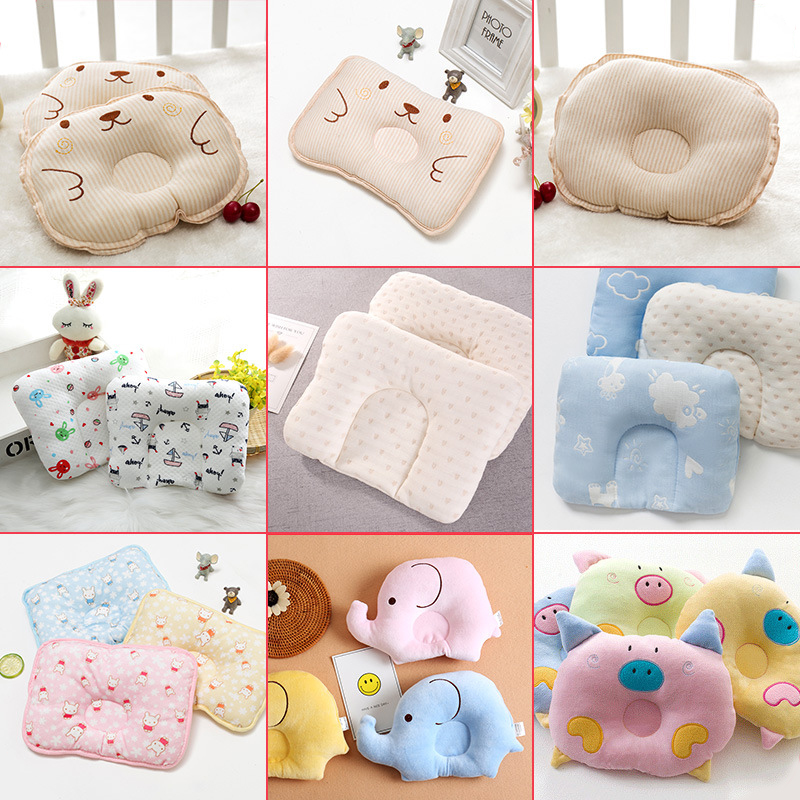 Newborn Comfortable Cartoon Infant Support Prevent Anti Roll Baby Pillow Flat Head Neck Infant Cotton Cushion Baby Pillows