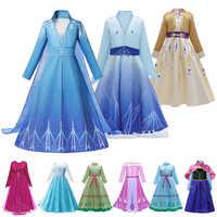 2019 nova anna elsa 2 vestido meninas princesa traje conjunto neve gelo rainha 2 roupas crianças festa de natal copspay elza fantasia vestidos