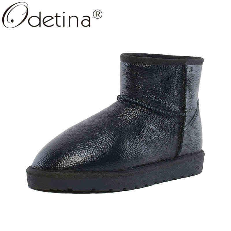 Odetina נשים פלטפורמה שטוח אופנה החלקה נוחות קרסול שמרו חם להחליק על עבה פרווה פיצול עור אוסטרליה שלג מגפיים