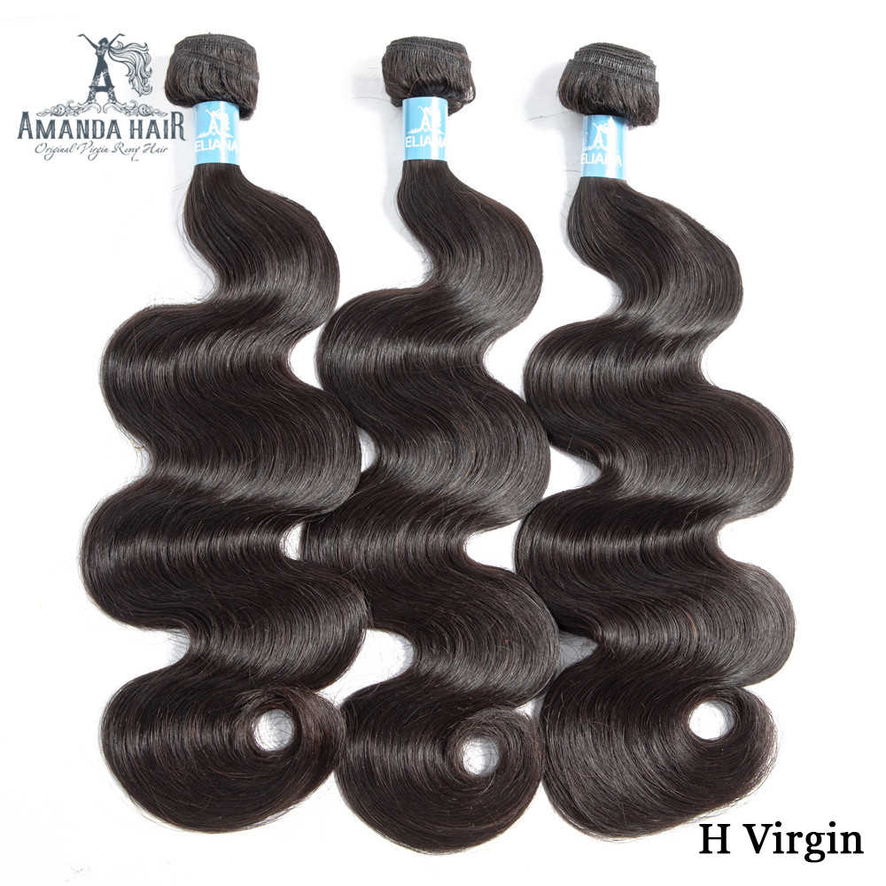 Amanda Double Drawn Menselijk Haar Body Wave 3/4 Bundels Onbewerkte Braziliaanse Virgin Hair Weave Bundels Extensions