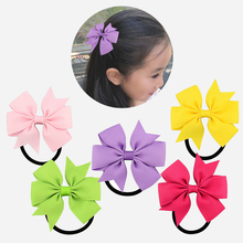 Candy colour girl Bow-Knot Grosgrain Ribbon hair ring female rubber band elastic Bands Bows Girls Headware