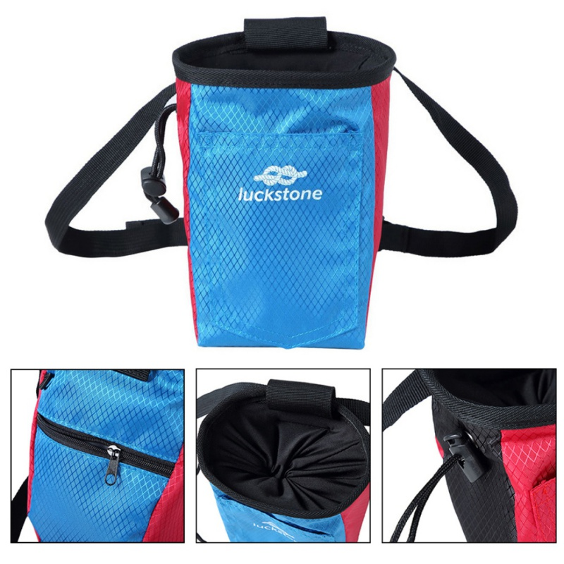 Climbing Chalk Bag Magnesium Powder Storage Pouch With Waist Belt Rock Weightlifting Camping Hiking Climbing Bags Accessories