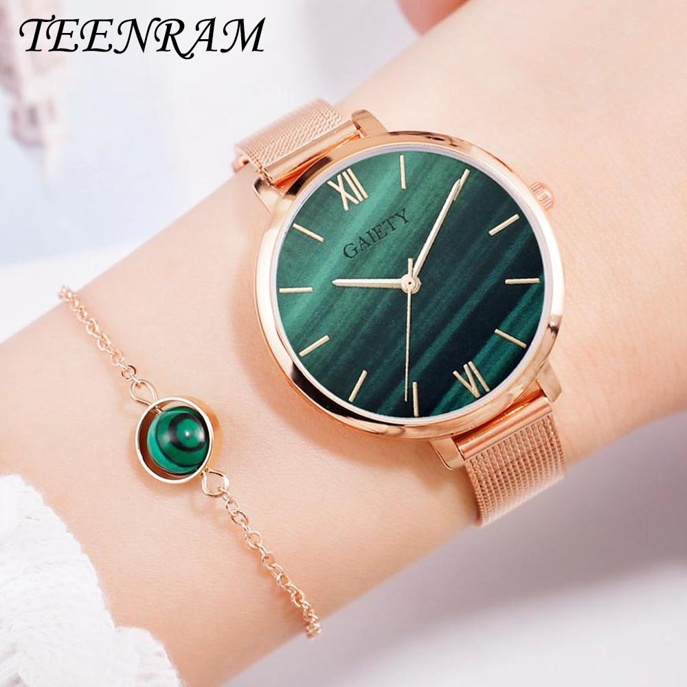 TEENRAM Luxury Ladies Watch Women Watches Rose Gold Water Bracelet reloj mujer Jewelry Hour Casual Female Quartz Wristwatches