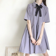Short Sleeve Dress Women Turn-down Collar Bow Solid Pleated Preppy-style Girls Chic Harajuku Summer Loose Womens Elegant Kawaii