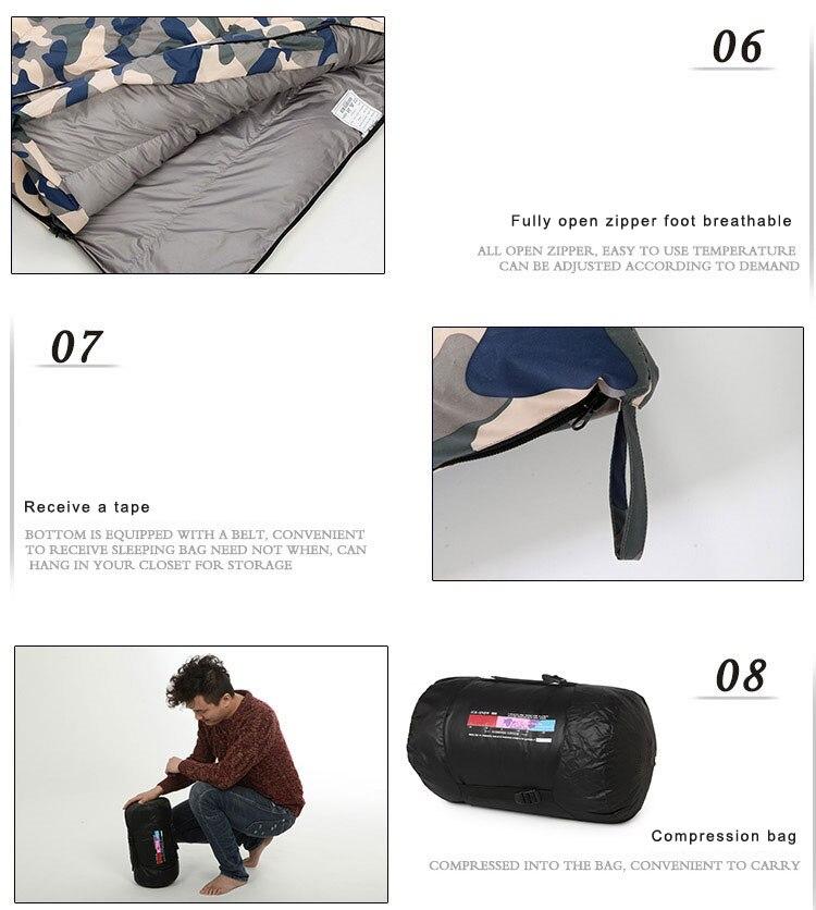 branco para baixo saco de dormir quatro