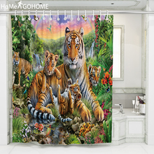Cool Tiger Shower Curtain 3D Print Polyester Fabric Bath Curtain For The Bathroom Decorations Multi-size Printed Shower Curtains